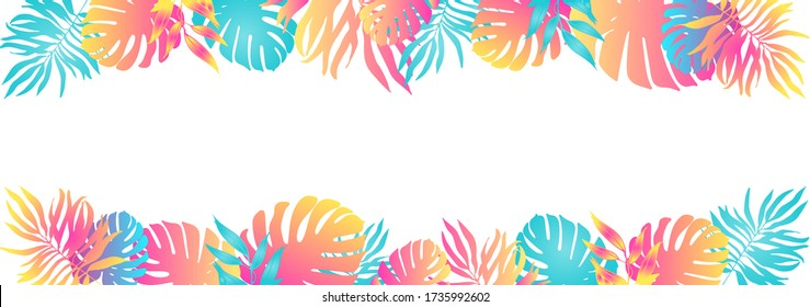 Trendy summer tropical palm leaves, plants. Cartoon style. Hawaiian summer.Space for text.Square frame.Bright jungle floral banner. Monstera, palm.Vector illustration isolated on white background