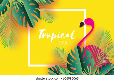 Trendy Summer Tropical palm leaves, plants. Paper cut style. Flamingo. Exotic Hawaiian summertime. Space for text. Square frame. Green jungle floral background.Monstera, palm.