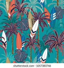 Trendy Summer vacation seamless hand drawing tropical pattern  with palm tree ,Sea summer seamless with palm trees, islands leaves and surfboards on  deep ocean green background.