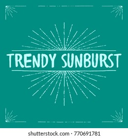 A trendy sunburst and set of corners that look like they were doodled with a pen in vector format.