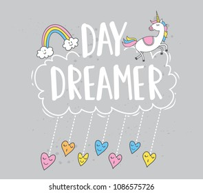 Trendy t shirt design with rainbow and unicorn patches