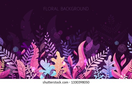Trendy textured flat vector illustration with violet and pink vibrant bright gradient plants, leaves, flowers, branches. Floral and botanical modern background for posters, banners, invitation, cards