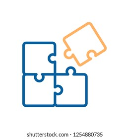 Trendy thin line puzzle icon. Vector illustration of four puzzle matching pieces for concepts of games, toys, business and start up strategies and solutions