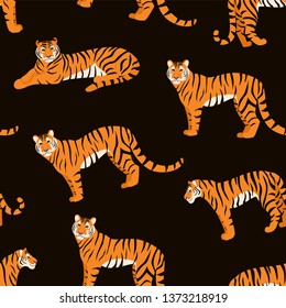 Trendy tiger pattern. Vector seamless texture.