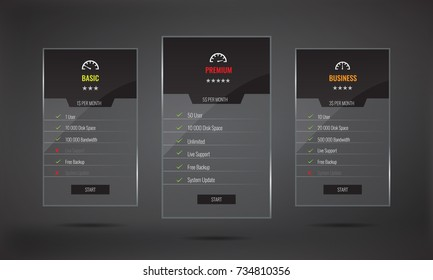 Trendy transparent price list and offer columns with glass effect. Illustrated vector