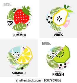 Trendy Tropic  background with fruit (Kiwi, orange, lemon, strawberry, pear ). Design background for booklet, cards, invitation, brochure and promotion. Vector illustration