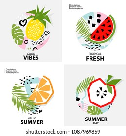 Trendy Tropic  background with fruit ( pineapple, orange, apple, watermelon ). Design background for booklet, cards, invitation, brochure and promotion. Vector illustration
