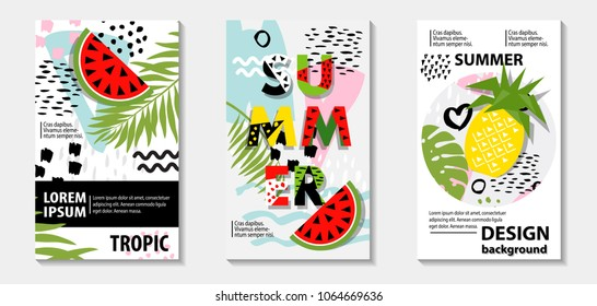 Trendy tropic and  fruit (watermelon, pineapple) pattern covers set. Design floral backgrounds for booklet, cards, invitation, brochure and promotion. Vector illustration
