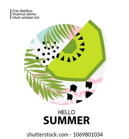 Trendy tropic and kiwi background. Design background for booklet, cards, invitation, brochure and promotion. Vector illustration