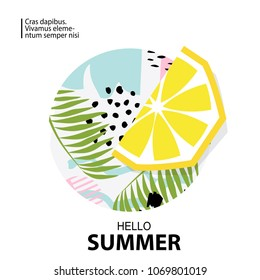 Trendy tropic and lemon background. Design background for booklet, cards, invitation, brochure and promotion. Vector illustration
