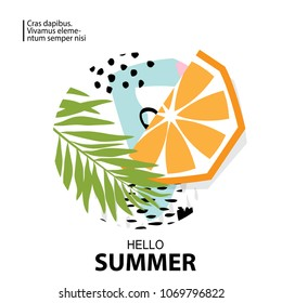 Trendy tropic and orange background. Design background for booklet, cards, invitation, brochure and promotion. Vector illustration