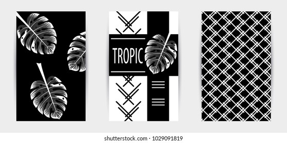 Trendy tropic pattern covers set. Design floral backgrounds for booklet, cards, invitation, brochure and promotion. Vector illustration.