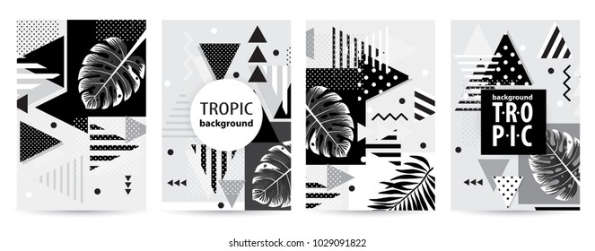 Trendy tropic pattern covers set. Design floral backgrounds for booklet, cards, invitation, brochure and promotion. Vector illustration
