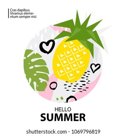 Trendy Tropic and pineapple background. Design background for booklet, cards, invitation, brochure and promotion. Vector illustration