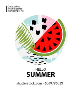 Trendy tropic and watermelon background. Design background for booklet, cards, invitation, brochure and promotion. Vector illustration