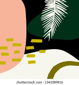 Trendy tropical background. Artboard with palm leaf. Abstract jungle vector illustration