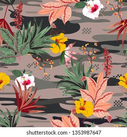 Trendy tropical forest ,palm leaves and exotic flowers on camou flage seamless pattern vector,design for fashion,fabric,wallpaper,and all prints