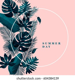 Trendy Tropical Leaves Vector Design