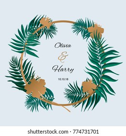 Trendy Tropical Leaves Vector Design. Palm leaves with golden flowers.