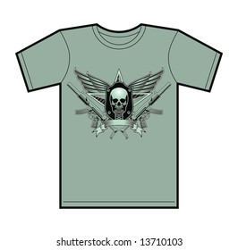 Trendy T-Shirt design featuring a military skull insignia.