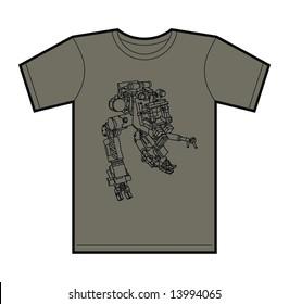 Trendy T-Shirt design with funky hand drawn mecha robot.