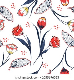 Trendy tulip flower seamless pattern in a hand drawing style.  Aquarelle florals on white background,wallpaper , texture, wrapper,fashion fabric and all prints  pattern