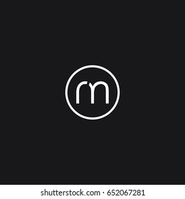 Trendy unique modern stylish connected geometric business brand black and white color RM MR R M initial based letter icon logo.