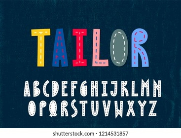 Trendy unusulal uppercase alphabet. Imitation of the sewn fabric letters.