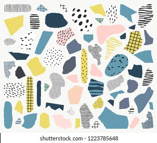 Trendy vector abstract pieces. Paper cutouts. Hand drawn modern design for card, print on clothes.