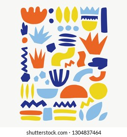 Trendy vector abstract pieces. Paper cutouts.Hand drawn modern design for card, print on clothes.