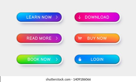 Trendy vector buttons for web design. Abstract volumetric buttons with white frame and icons. Ready design template for web site, apps and mobile device.