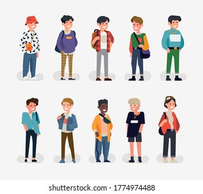Trendy vector character design on diverse group of young adult women. Diverse group of ladies standing in lineup. Set of multiracial female characters in different outfits and appearance