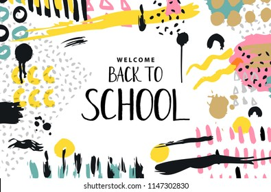 Trendy vector colorful pattern with brush strokes and letter back to school. Design backgrounds for wallpaper, cover. Hand drawn abstract card, pastel and gold colors. Vector illustration