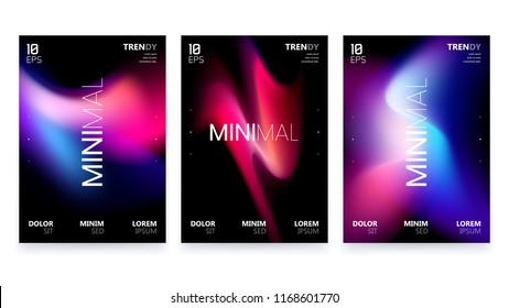 Trendy Vector Fluid Gradient A4 Poster Design Set. Modern Backgrounds for Poster, Brochure, Advertising, Placard, Invitation Card, Music Festival, Night Club. EPS 10
