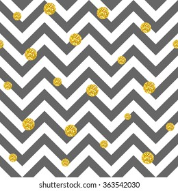 Trendy vector glittering gold seamless polka dot pattern. Great texture with golden middle-size dots on chevron grey and white background. Can be used in web, printing, textile or interior design.