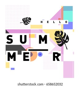 Trendy vector holiday summer cards illustration with line elements and abstract colorful textures. Design for poster, card, invitation, brochure, and promotion template.