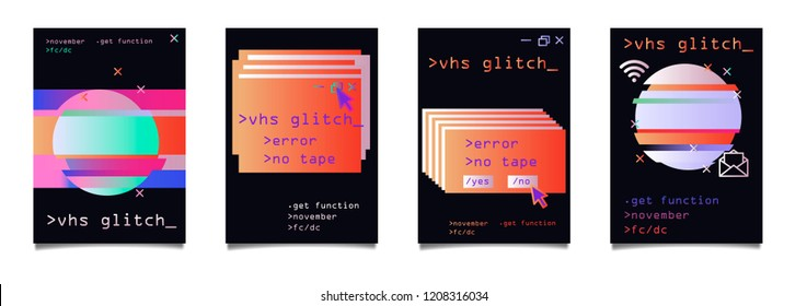 Trendy Vector Holographic Gradient and Glitch Art Elements, A4 Poster Design Set. Modern Backgrounds for Poster, Brochure, Advertising, Placard, Invitation Card, Music Festival, Night Club. EPS 10.