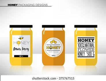 Trendy Vector Honey Packaging Template
