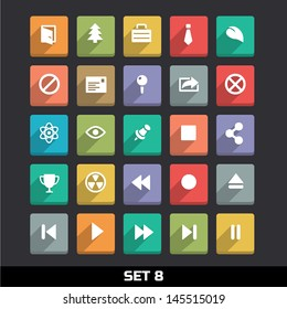Trendy Vector Icons With Long Shadow Set 8