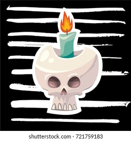 Trendy vector illustration of Halloween human skull and flaming candle inside, hand drawn  brush strokes black background. Print design template concept. For festival flyers, cards, posters and prints