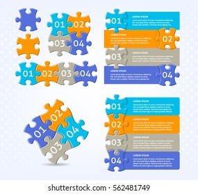 Trendy vector infographic puzzle designs