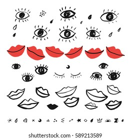 trendy vector pattern with hand drawn eyes and red lips.