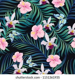 Trendy vector pattern in tropical style. Seamless botanical print for textile, print, fabric on dark background.