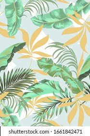 Trendy vector pattern in tropical style. Seamless botanical print for textile, print, fabric.Summer background. Jungle illustration.