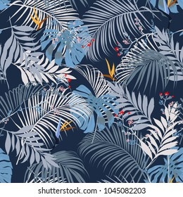 Trendy vector seamless beautiful artistic summer tropical pattern with exotic forest. Bright and Colorful original stylish floral background print,  forest flower on dark blue
