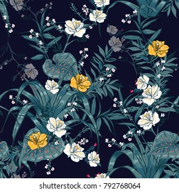 Trendy vector seamless beautiful artistic dark tropical pattern with exotic forest. Forest original stylish floral background print, bright rainbow colors on navy blue.
