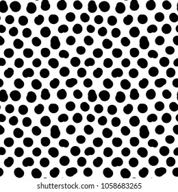 Trendy vector seamless pattern with brush strokes. Hand drawn abstract geometric elements. Polka dots. Modern abstract poster, cover,card, fabric, wrappind design. Organic pattern.