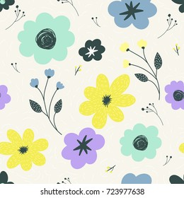 Trendy vector seamless pattern with pastel flowers. Hand drawn flower background for design and decoration textile, fabric, gift wrap, wall art design.
