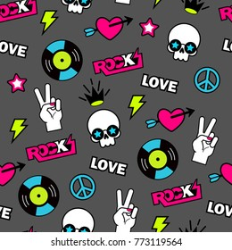 trendy vector seamless rock and roll pattern