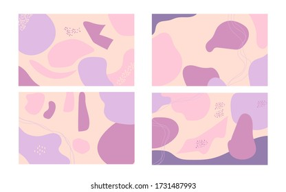 Trendy vector set abstract background. Various shapes with doodle concept illustration vector.